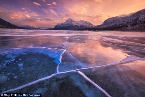 These stunning images show hundreds of frozen bubbles trapped below Canada's Abraham Lake. Located at the foot of the Rocky Mountains, the rare phenomenon occurs each winter in the man-made lake. (Source: chinanews.com)