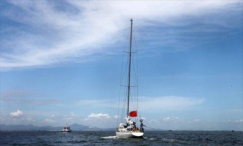 Zhai Mo and his crew return home, passing through Xiamen, Fujian Province, after claiming China's sovereignty over the Diaoyu Islands on August 3. Photo: CFP