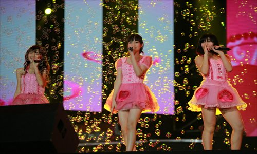 SNH48 members performing during a concert in Guangzhou