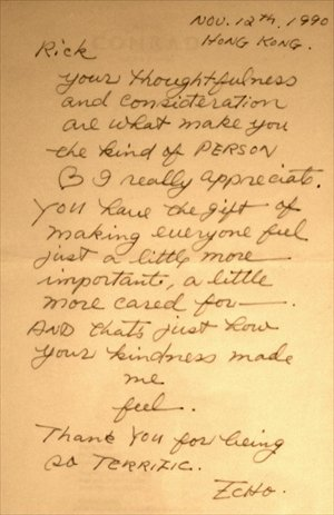 An actual letter from San Mao to Rick.