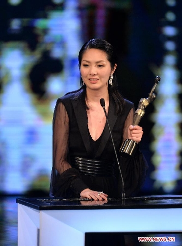 Actress Miriam Yeung receives the Best Actress award for her movie