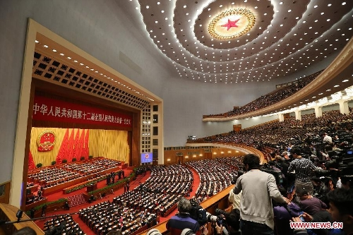 The first session of the 12th National People's Congress (NPC) opens at the Great Hall of the People in Beijing, capital of China, March 5, 2013. (Xinhua/Ding Lin)