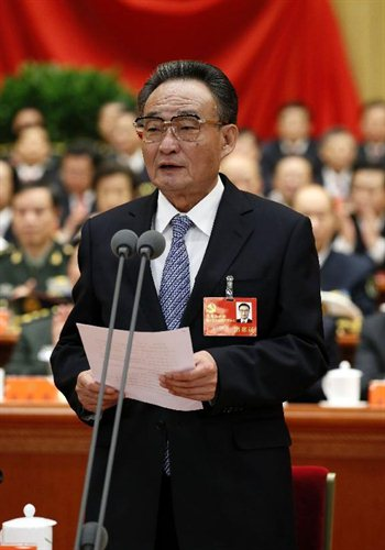 Wu Bangguo, a member of the Standing Committee of the Political Bureau of the Central Committee of the Communist Party of China (CPC) and China's top legislator, presides over the opening ceremony of the 18th CPC National Congress at the Great Hall of the People in Beijing, capital of China, on Nov. 8, 2012. The 18th CPC National Congress opened in Beijing on Thursday. Photo: Xinhua