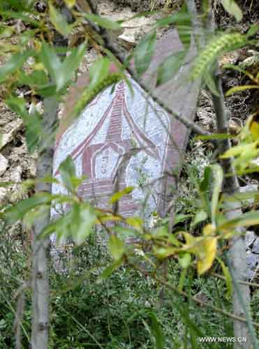 Photo taken on September 9, 2012 shows a carving with a stupa pattern in the Dra Yerpa temple built on a hillside in Dagze county of Southwest China's Tibet Autonomous Region. The temple is notable for its meditation cave connected with Songtsen Gampo, the 7th century Tibetan king. Photo: Xinhua