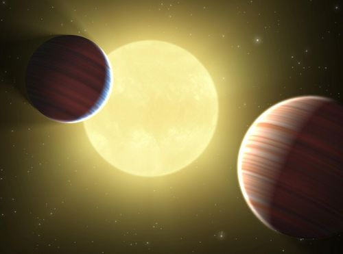 Previous discoveries of NASA's Kepler mission: This artist's concept illustrates Kepler-9 star system. This is the first star system found to have multiple transiting planets. Photo: NASA