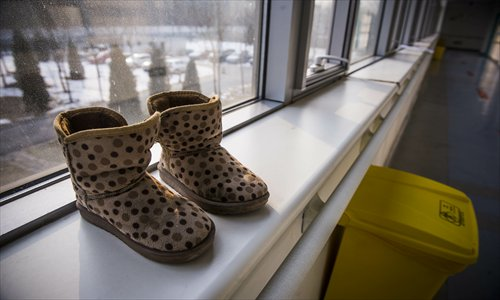 The shoes of the 7-year-old girl who was molested. Photo: Li Hao/GT