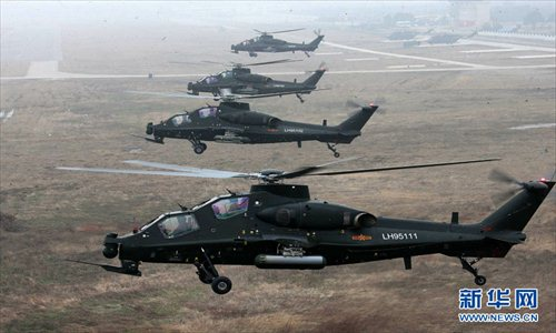 An army aviation brigade under the Nanjing Military Area Command (MAC) of the Chinese People's Liberation Army (PLA) organizes a helicopter flight training, in a bid to temper the tactical skills of the pilots and the helicopter operation-and-control capability. (Xinhua/Guo Weihu)