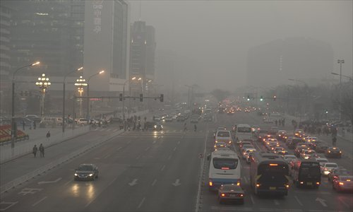 Record pollution obscures visibility at Chang'an Avenue in Xidan.  Photo: Li Hao/GT