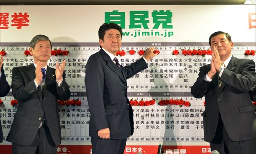 Japan's main opposition Liberal Democratic Party (LDP) Presidsent Shinzo Abe (center) puts rosettes by successful general electoral candidates' names on a board at the party headquarters in Tokyo on Sunday, while deputy president Masahiko Komura (left) and Secretary General Shigeru Ishiba (right) clap their hands. Japan's conservative opposition swept to victory in polls. Photo: AFP