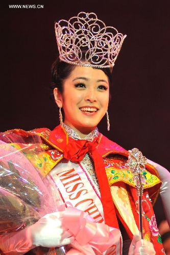 Leah Li wins the Miss Chinatown U.S.A. Pageant 2013 in San Francisco, the United States, Feb. 16, 2013. The Miss Chinatown U.S.A. Pageant 2013 closed on Feb. 16. (Xinhua/Liu Yilin)