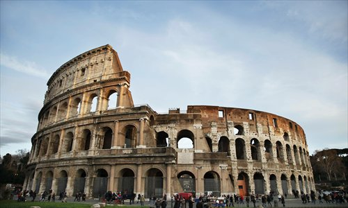 Ancient Rome's Colosseum, or Amphitheatrum Flavium, which sits at the heart of the city Photo: CFP