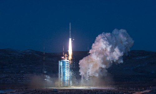 Long March-2C carrier rocket carrying an environment-monitoring satellite Huanjing-1C blasts off from the launch pad at the Taiyuan Satellite Launch Center in Taiyuan, capital of north China's Shanxi Province, Nov. 19, 2012. The Huanjing-1C satellite and the other two satellites Huanjing-1A and Huanjing-1B, which were sent to the outer space in 2008, will be used to monitor the environment and help reduce natural disasters. Photo: Xinhua