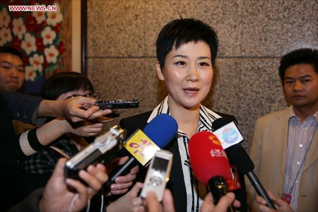 Li Xiaolin, a member of the 12th National Committee of the Chinese People's Political Consultative Conference (CPPCC), who is also the chairperson of the China Power International Development Limited, receives an interview in Beijing, capital of China, March 5, 2013. Women's presence in China's politics has been increasing in recent decades. The number of female deputies to the 12th National People's Congress and members of the 12th National Committee of the Chinese People's Political Consultative Conference (CPPCC) rise to 699 and 399, reaching 23.4% and 18.4% of the total respectively. (Xinhua/Wang Shen)