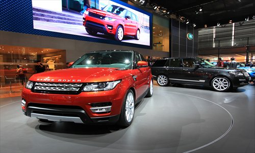 A Land Rover SUV model is displayed at the Shanghai auto show in April. Photo: CFP