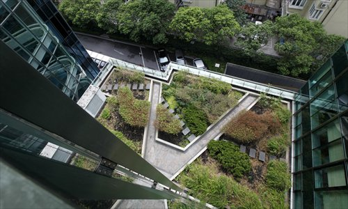 A green roof on an office building in Jing'an district Photo: Cai Xianmin/GT