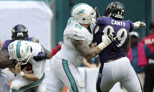 Main: Miami Dolphins' Richie Incognito (center) blocks Baltimore Ravens' Chris Canty (right) from trying to sack Ryan Tannehill (left) during their NFL game on October 6 in Miami. Photos: IC