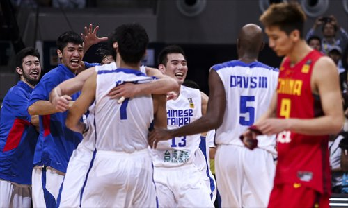 Chinese Taipei players celebrate after winning the game on Friday in Manila. Photo: CFP