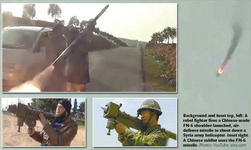 Background and inset top, left: A rebel fighter fires a Chinese-made FN-6 shoulder-launched, air-defense missile to shoot down a Syria army helicopter. Inset right: A Chinese soldier uses the FN-6 missile. Photos: YouTube, sina.com