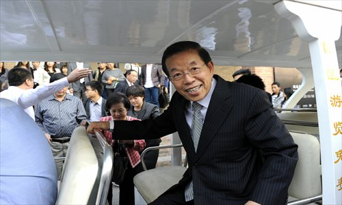 Hsieh Chang-ting speaks to the media during his visit to the 798 Art Zone in Beijing on Saturday. Photo: IC