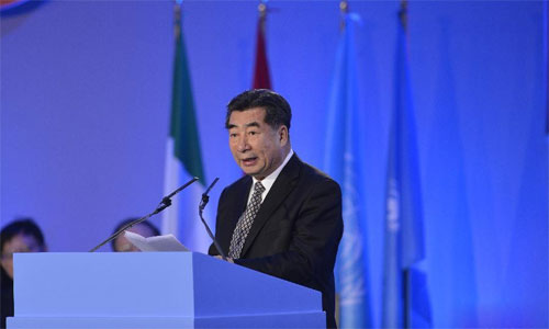 Chinese Vice Premier Hui Liangyu addresses the inauguration of the 36th Governing Council of the International Fund for Agricultural Development (IFAD) in Rome, Italy, Feb. 13, 2013. Photo: Xinhua