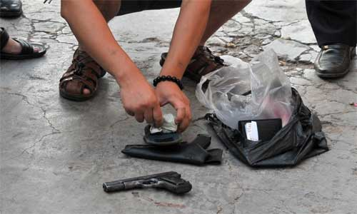 Police is obtaining evidence in the scene. Photo: sina.com