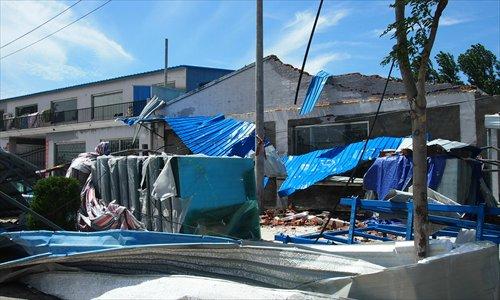 A collapsed building at Zhangfeng Lu, Tongzhou district Sunday. Photo: Deng Jingyin/GT