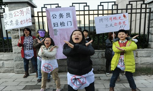 University students protest invasive screening practices in front of the Human Resources and Social Security Department of Hubei Province on Monday. Photo: IC