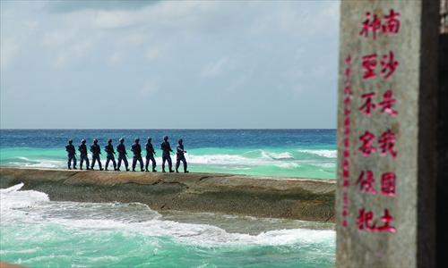 Chinese marine guards patrol the Nansha Islands on February 9, 2016. Photo: CFP