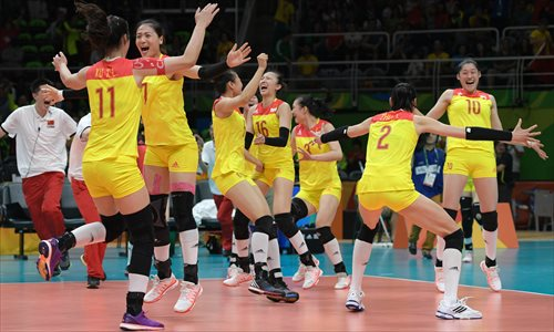 China's women volleyball team win gold at Rio - Global Times