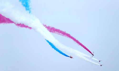 British RAF Red Arrows Aerobatic Team make their debut at the 11th China International Aviation and Aerospace Exhibition in Zhuhai, South China's Guangdong Province, on Tuesday. Photo: Cui Meng/GT