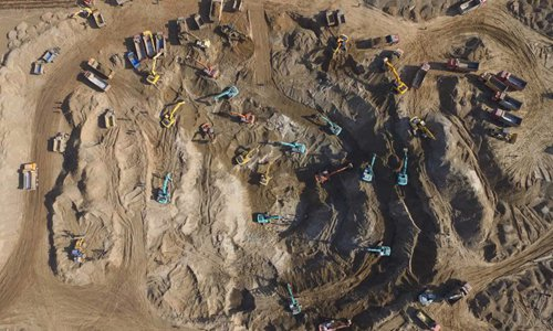 Aerial view of the rescue scene where a 5-year-old is trapped inside a 40-meter-deep  abandoned well in Baoding, North China's Hebei Province on Tuesday. Photo: IC