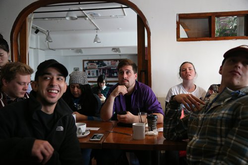 Supporters of Hillary Clinton await the outcome of the US election in a Beijing café on Wednesday. Photo: Cui Meng/GT