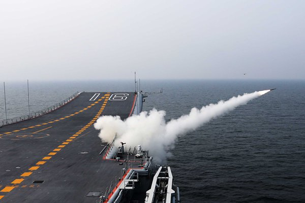 The Liaoning launches a missile. Photo: Zhang Kai