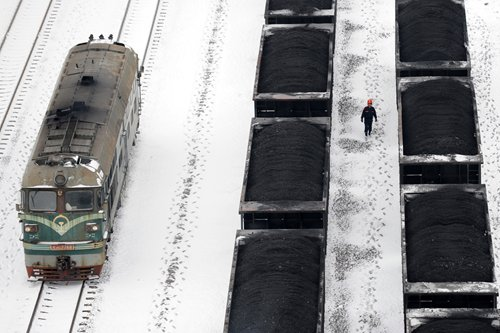 Freight trains carrying thermal coal are seen in Huaibei, East China's Anhui Province on Wednesday. Photo: CFP