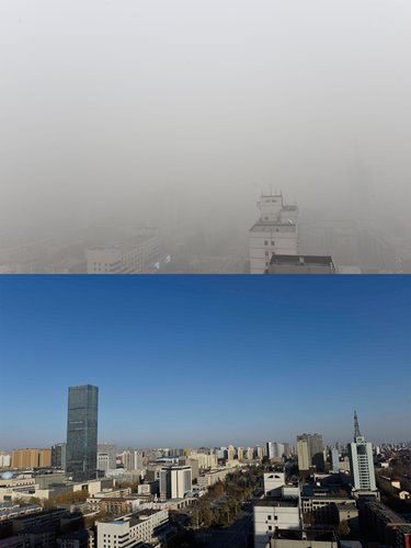 Scenes of Shijiazhuang. The picture (down) was shot at 3 pm on December 23, 2015, while the smoggy picture was taken at 3 pm the next day. Photos: CFP