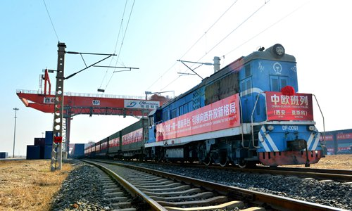 A China-Europe cargo train departs from Xi'an, capital of Northwest China's Shaanxi Province for Moscow, Russia on December 6. Photo: CFP