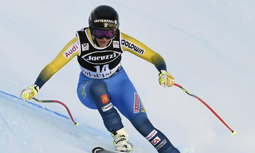 Sweden's Kajsa Kling competes in the FIS Alpine World Cup Women Alpine Combined on Friday in Val d'Isere, French Alps. Photo: AFP