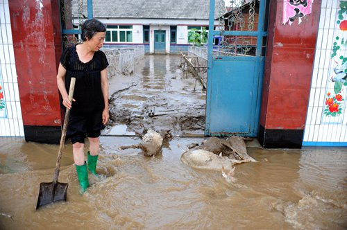 A resident of Daweizi village, Xiuyan county, Northeast China's Liaoning Province cleans her house after the flood on August 5, 2012. Photo: Xinhua