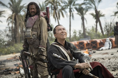 Promotional material for <em><em>Rogue One</em>: A Star Wars Story</em> featuring Jiang Wen (left) and Donnie Yen Top: Donnie Yen (center) Photos: IC