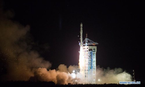 The Long March-2D rocket carrying a carbon dioxide monitoring satellite blasts off from the launch pad at the Jiuquan Satellite Launch Center in Jiuquan, northwest China's Gansu Province, Nov. 22, 2016. This was the 243rd mission of the Long March series rockets. Besides TanSat, the rocket also carried a high-resolution micro-nano satellite and two spectrum micro-nano satellites for agricultural and forestry monitoring. (Xinhua/Ren Hui)