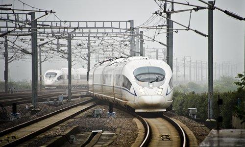 A high-speed train runs through Jiaxing, East China's Zhejiang Province, in September. Photo: CFP