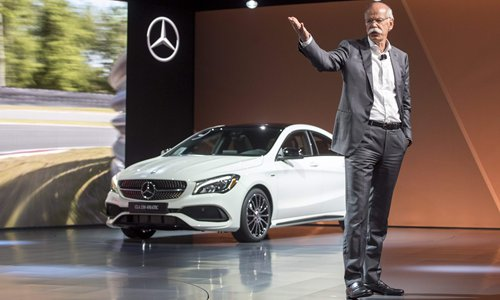 Dieter Zetsche, chairman of the board of Daimler AG and head of Mercedes-Benz Cars, speaks during new product introductions on the eve of the 2017 North American International Auto Show in Detroit, Michigan on Sunday. Photo: CFP