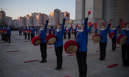 A propaganda troupe perform in Pyongyang on December 15, 2016. Photo: CFP