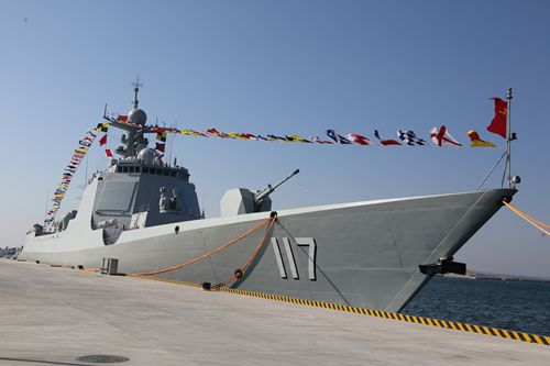 A view of the new-type guided missile destroyer warship <em>Xining</em> at a commissioning ceremony held at a military port of the North China Sea Fleet of the PLA Navy in Qingdao, East China's Shandong Province on January 22, 2017.