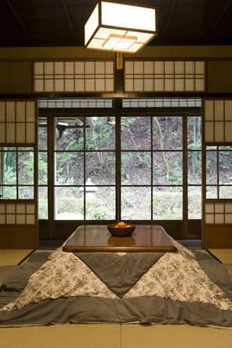 A Japanese kotatsu, a low table covered by a blanket with a heater underneath. Photo: IC