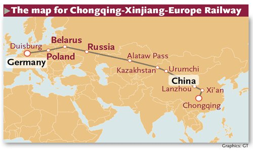 Map Of Europe And China.China Europe Trains On Track Global Times