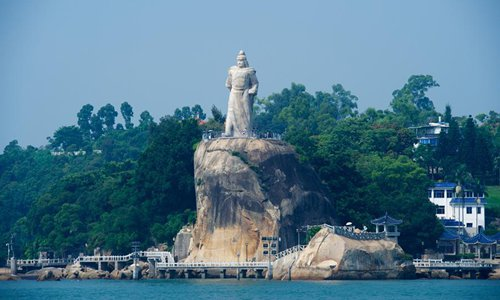 Photo taken on Aug. 18, 2017 shows the statue of Zheng Chenggong, a naval general who forced Dutch invaders to leave Taiwan, on the Gulangyu island off the coast of Xiamen, a scenic city in the southeast China's Fujian Province. The ninth BRICS summit will be held in Xiamen from Sept. 3 to 5, 2017. Photo: Xinhua