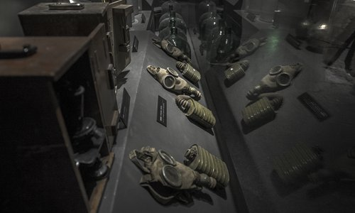 Gas masks and other equipment used at Unit 731 are exhibited in Harbin, Heilongjiang Province. Photo: VCG