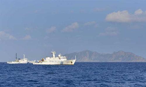 The China Marine Surveillance ships patrol around the Diaoyu Islands, October 25, 2012. Photo: Xinhua