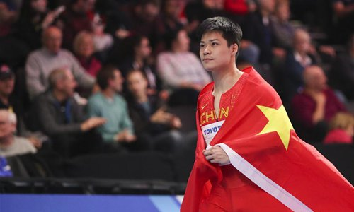 Su Bingtian of China celebrates after the men's 60 metres final during the IAAF World Indoor Championships at Arena Birmingham in Birmingham, Britain on March 3, 2018. Su took the silver with 6.42 seconds. (Xinhua/Han Yan)